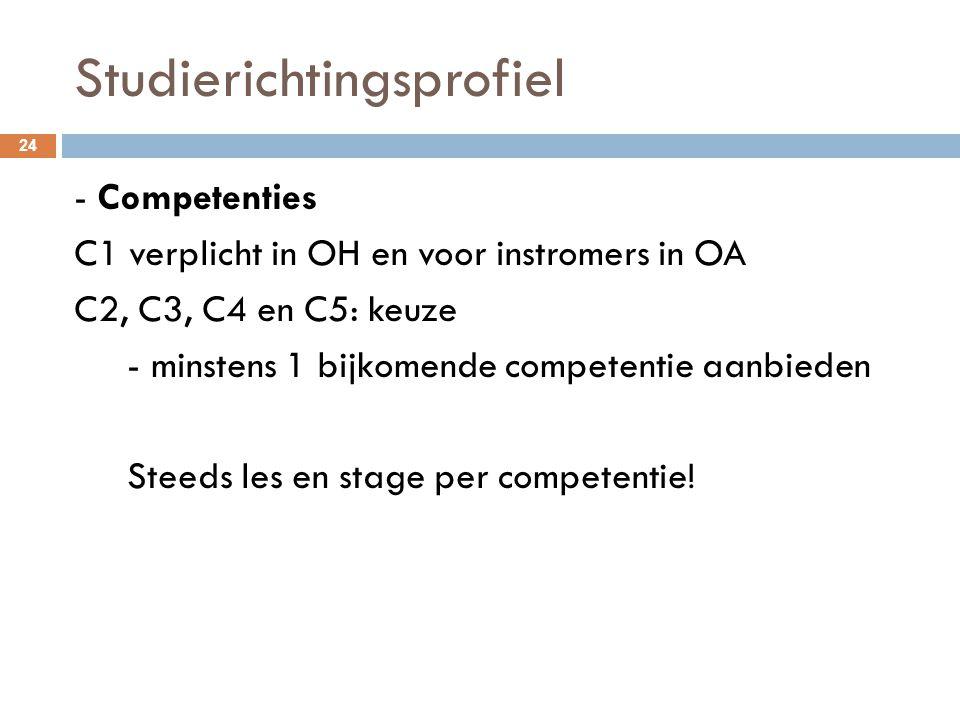 Studierichtingsprofiel 24 - Competenties C1 verplicht in OH en voor instromers in OA C2, C3, C4 en C5: keuze - minstens 1 bijkomende competentie aanbi