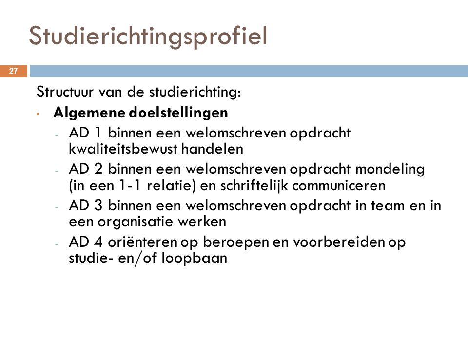 Studierichtingsprofiel 27 Structuur van de studierichting: Algemene doelstellingen - AD 1 binnen een welomschreven opdracht kwaliteitsbewust handelen
