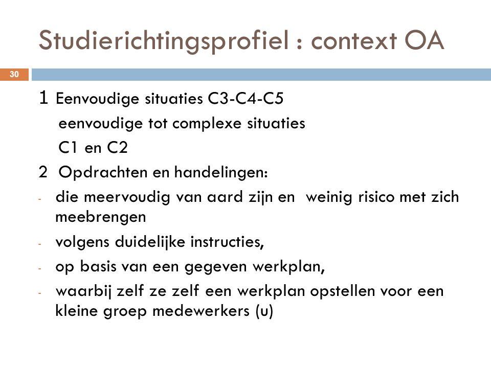 Studierichtingsprofiel : context OA 30 1 Eenvoudige situaties C3-C4-C5 eenvoudige tot complexe situaties C1 en C2 2 Opdrachten en handelingen: - die m