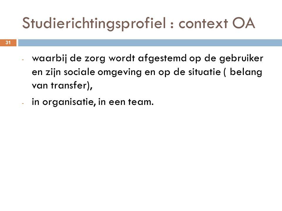 Studierichtingsprofiel : context OA 31 - waarbij de zorg wordt afgestemd op de gebruiker en zijn sociale omgeving en op de situatie ( belang van trans
