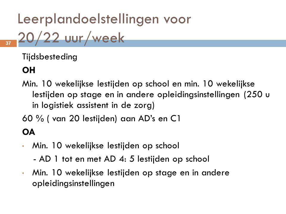 Leerplandoelstellingen voor 20/22 uur/week 37 Tijdsbesteding OH Min. 10 wekelijkse lestijden op school en min. 10 wekelijkse lestijden op stage en in