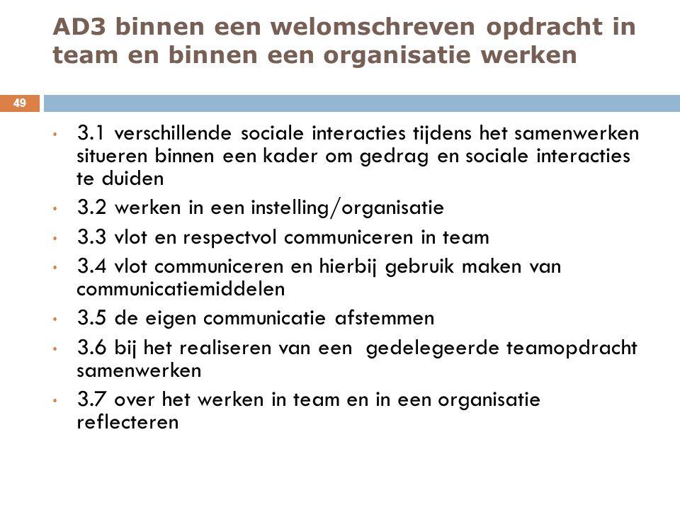 AD3 binnen een welomschreven opdracht in team en binnen een organisatie werken 49 3.1 verschillende sociale interacties tijdens het samenwerken situer