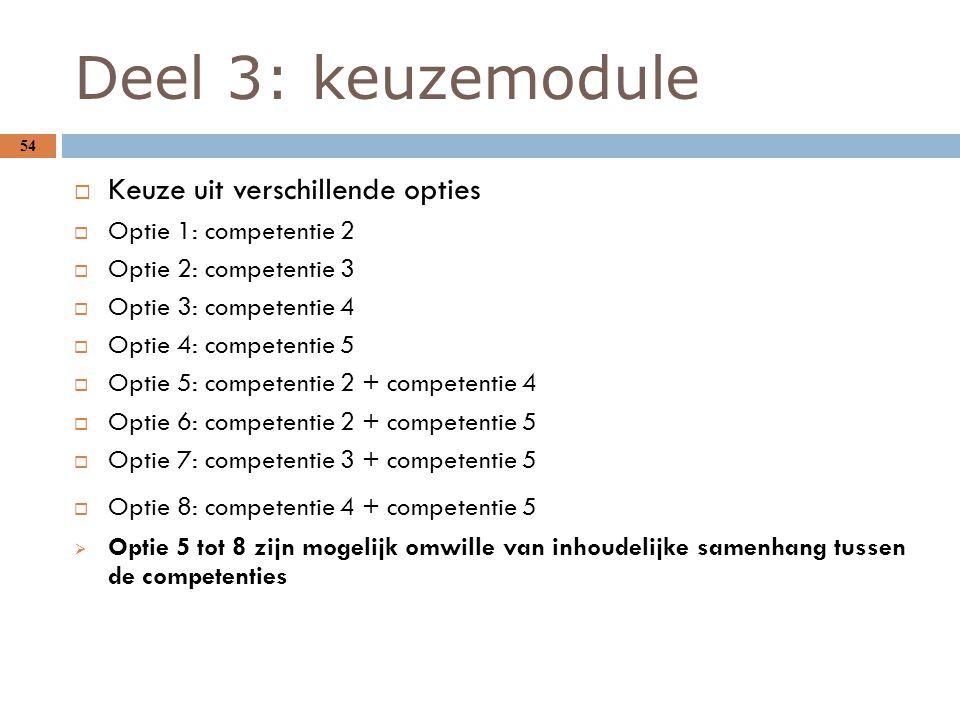 Deel 3: keuzemodule 54  Keuze uit verschillende opties  Optie 1: competentie 2  Optie 2: competentie 3  Optie 3: competentie 4  Optie 4: competen