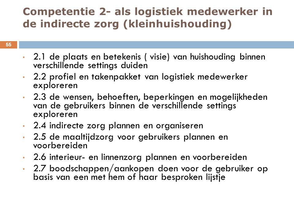 Competentie 2- als logistiek medewerker in de indirecte zorg (kleinhuishouding) 55 2.1 de plaats en betekenis ( visie) van huishouding binnen verschil