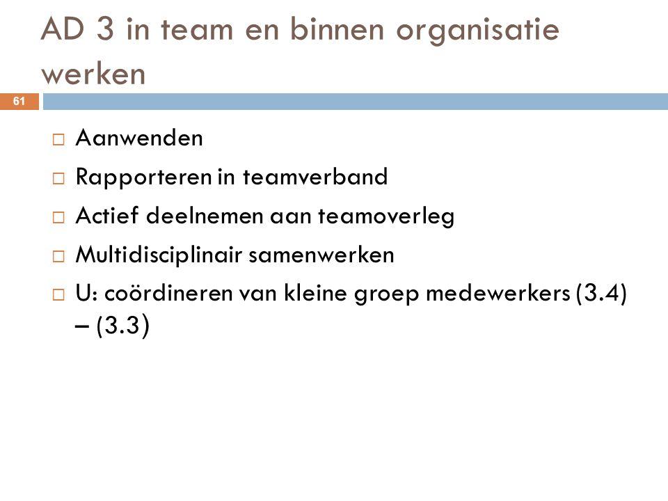 AD 3 in team en binnen organisatie werken 61  Aanwenden  Rapporteren in teamverband  Actief deelnemen aan teamoverleg  Multidisciplinair samenwerk