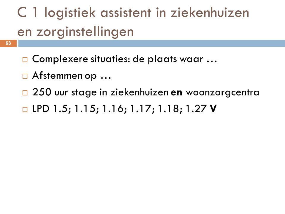 C 1 logistiek assistent in ziekenhuizen en zorginstellingen 63  Complexere situaties: de plaats waar …  Afstemmen op …  250 uur stage in ziekenhuiz