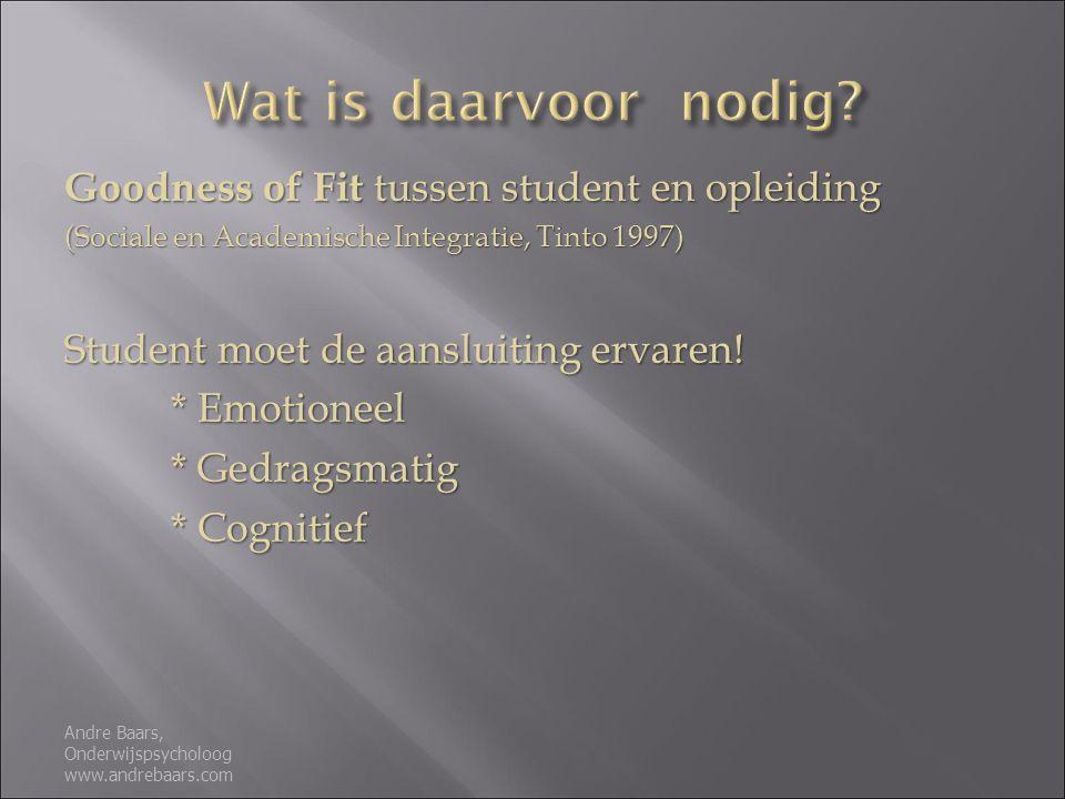Goodness of Fit tussen student en opleiding (Sociale en Academische Integratie, Tinto 1997) Student moet de aansluiting ervaren.