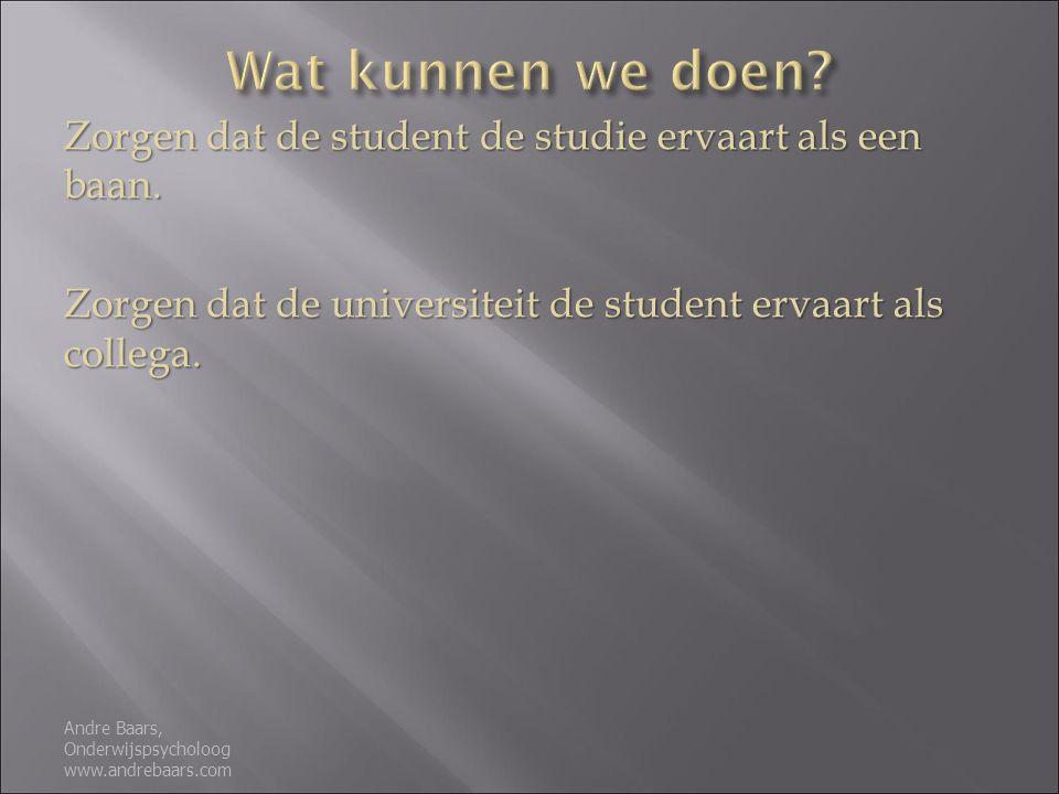 Zorgen dat de student de studie ervaart als een baan.