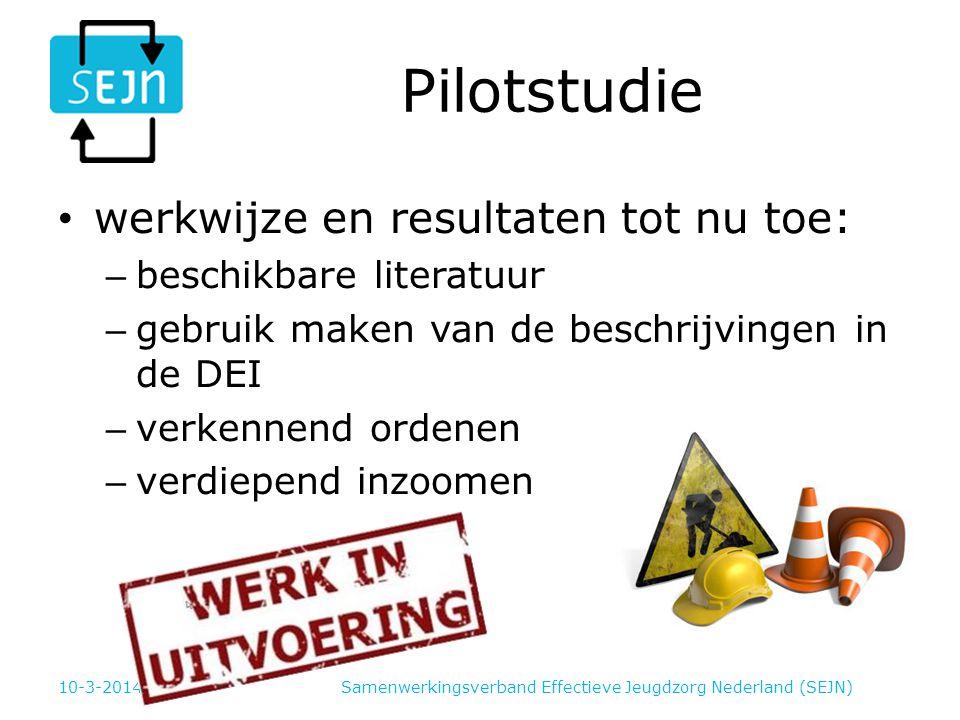 Pilotstudie werkwijze en resultaten tot nu toe: – beschikbare literatuur – gebruik maken van de beschrijvingen in de DEI – verkennend ordenen – verdiepend inzoomen Samenwerkingsverband Effectieve Jeugdzorg Nederland (SEJN)10-3-2014