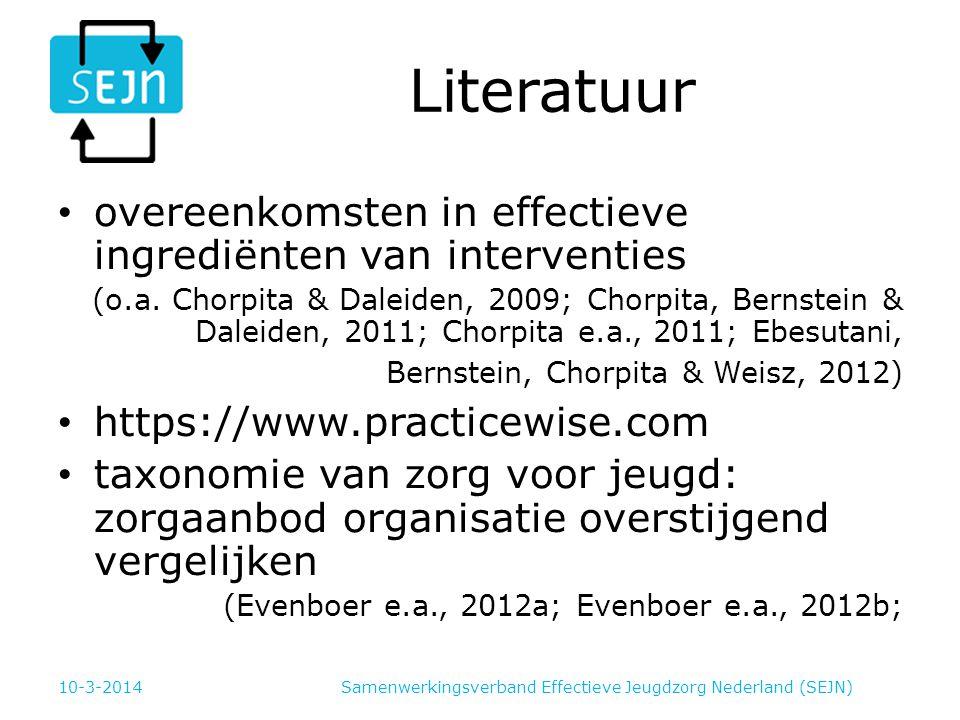Literatuur overeenkomsten in effectieve ingrediënten van interventies (o.a. Chorpita & Daleiden, 2009; Chorpita, Bernstein & Daleiden, 2011; Chorpita