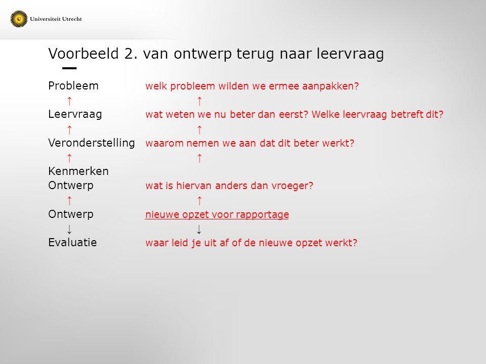 Voorbeeld 2. van ontwerp terug naar leervraag Probleem welk probleem wilden we ermee aanpakken? ↑ ↑ Leervraag wat weten we nu beter dan eerst? Welke l