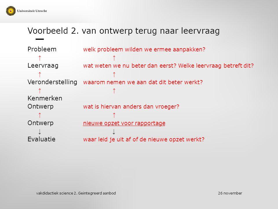 Voorbeeld 2.van ontwerp terug naar leervraag Probleem welk probleem wilden we ermee aanpakken.