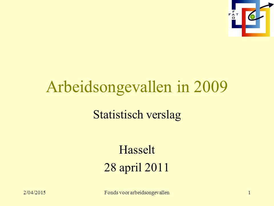 2/04/2015Fonds voor arbeidsongevallen1 Arbeidsongevallen in 2009 Statistisch verslag Hasselt 28 april 2011