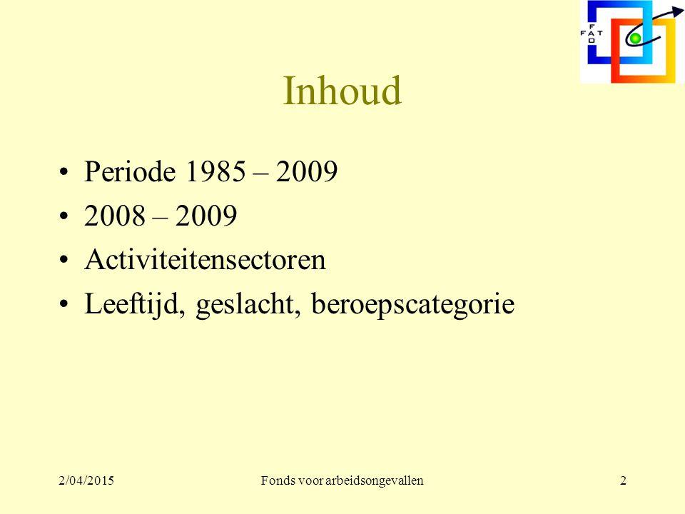 2/04/2015Fonds voor arbeidsongevallen2 Inhoud Periode 1985 – 2009 2008 – 2009 Activiteitensectoren Leeftijd, geslacht, beroepscategorie
