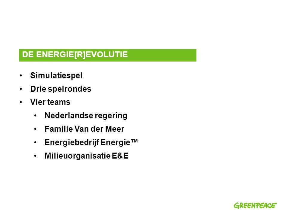 Simulatiespel Drie spelrondes Vier teams Nederlandse regering Familie Van der Meer Energiebedrijf Energie™ Milieuorganisatie E&E DE ENERGIE[R]EVOLUTIE