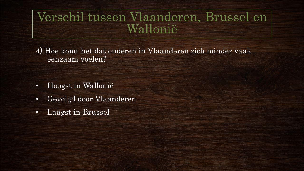 Verschil tussen Vlaanderen, Brussel en Wallonië 4) Hoe komt het dat ouderen in Vlaanderen zich minder vaak eenzaam voelen.