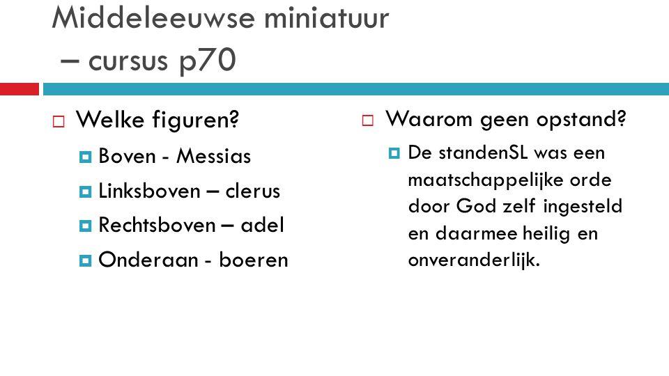 Middeleeuwse miniatuur – cursus p70  Welke figuren?  Boven - Messias  Linksboven – clerus  Rechtsboven – adel  Onderaan - boeren  Waarom geen op
