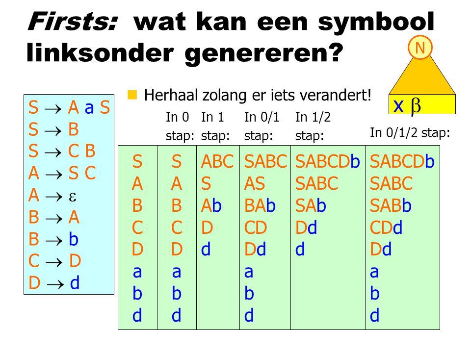 Firsts: wat kan een symbool linksonder genereren? S  A a S S  B S  C B A  S C A   B  A B  b C  D D  d x  N In 0 stap: SABCDabdSABCDabd ABC