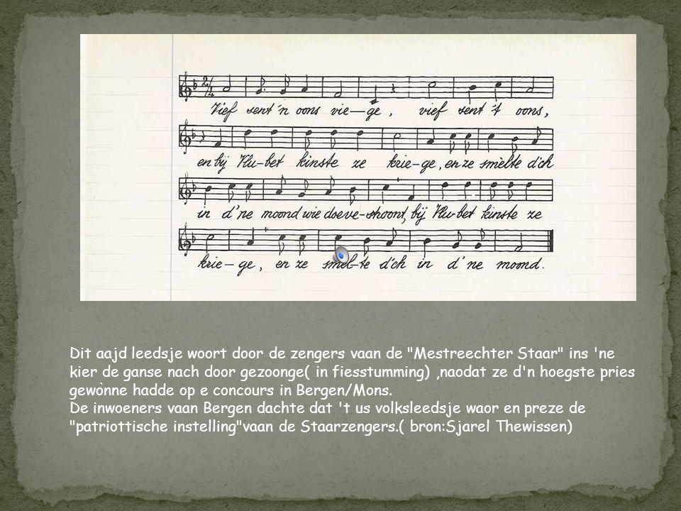 Dit leedsje (koeple ̀ t 3,4 en 5 bestoonte al) woort gezoonge met nen nuien teks (koeple ̀ t 1 en 2) nao de staking in 1896 op de febrik vaan Regout.