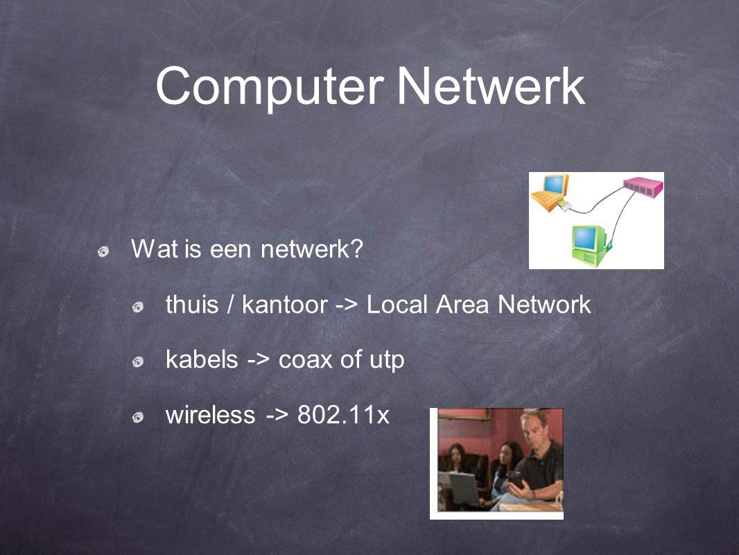 Computer Netwerk Wat is een netwerk? thuis / kantoor -> Local Area Network kabels -> coax of utp wireless -> 802.11x