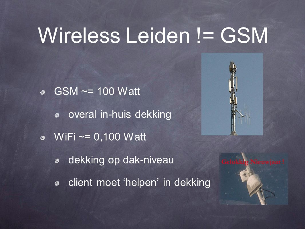 Wireless Leiden != GSM GSM ~= 100 Watt overal in-huis dekking WiFi ~= 0,100 Watt dekking op dak-niveau client moet 'helpen' in dekking