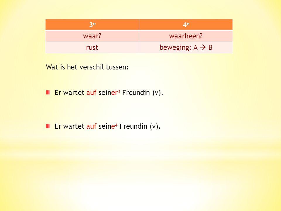 Let op: door verschil van naamval kan je heel verschillende betekenissen krijgen. Er wartet auf dem 3 Bus (m). WAAR wacht hij? - op de bus  3 e naamv