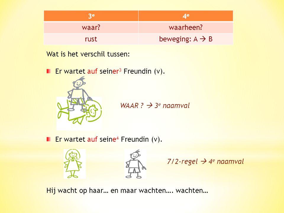 3e3e 4e4e waar?waarheen? rustbeweging: A  B Wat is het verschil tussen: Er wartet auf seiner 3 Freundin (v). Er wartet auf seine 4 Freundin (v).