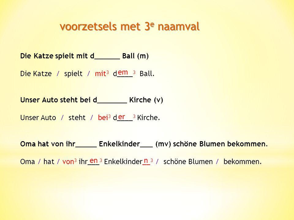 voorzetsels met 3 e naamval Die Katze spielt mit d______ Ball (m) Die Katze / spielt / mit 3 d____ 3 Ball.