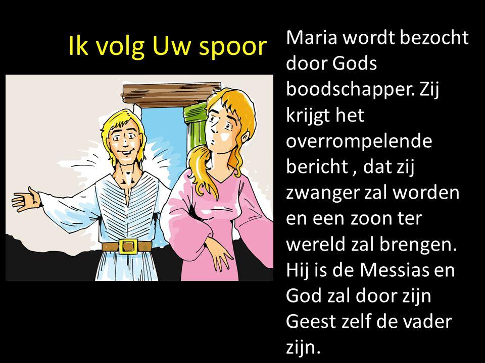 Ik volg Uw spoor Maria wordt bezocht door Gods boodschapper. Zij krijgt het overrompelende bericht, dat zij zwanger zal worden en een zoon ter wereld