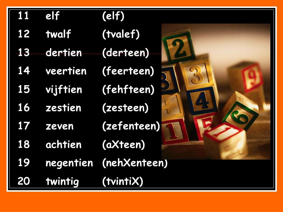 11elf(elf) 12twalf(tvalef) 13dertien(derteen) 14veertien(feerteen) 15vijftien(fehfteen) 16zestien(zesteen) 17zeven(zefenteen) 18achtien(aXteen) 19nege