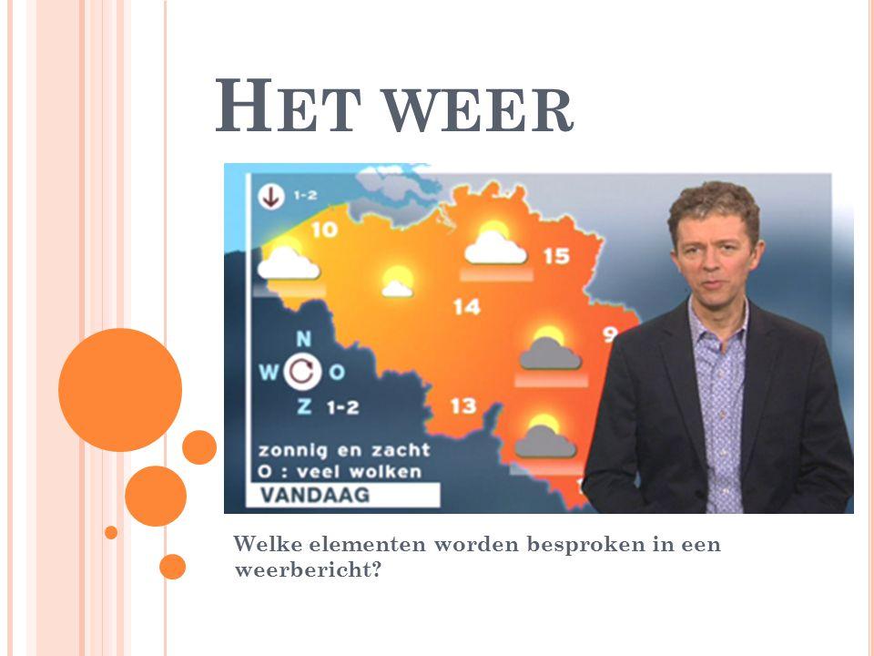 H ET WEER Welke elementen worden besproken in een weerbericht?