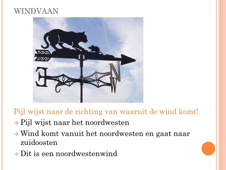 WINDVAAN Pijl wijst naar de richting van waaruit de wind komt.