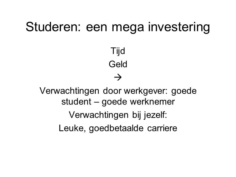 Studeren: een mega investering Tijd Geld  Verwachtingen door werkgever: goede student – goede werknemer Verwachtingen bij jezelf: Leuke, goedbetaalde carriere