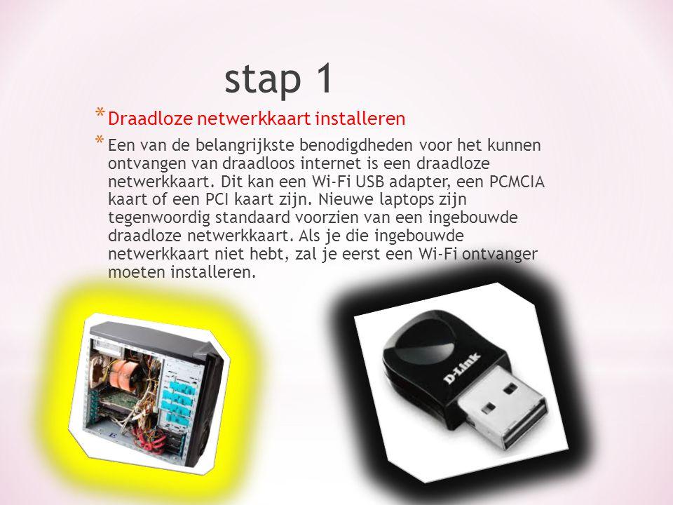 stap 1 * Draadloze netwerkkaart installeren * Een van de belangrijkste benodigdheden voor het kunnen ontvangen van draadloos internet is een draadloze netwerkkaart.