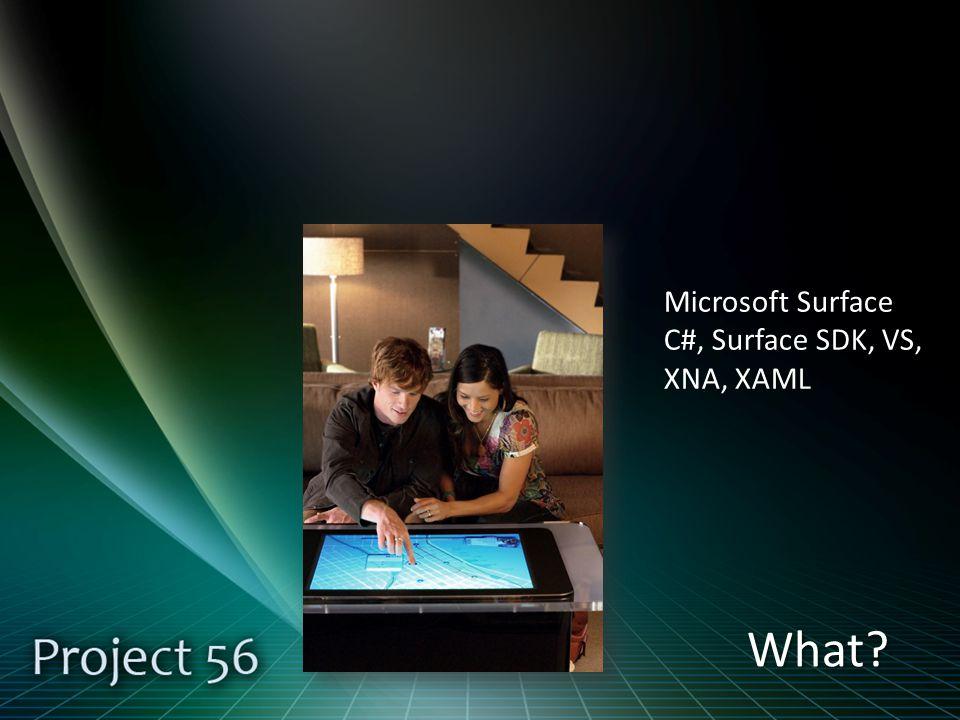 What Microsoft Surface C#, Surface SDK, VS, XNA, XAML