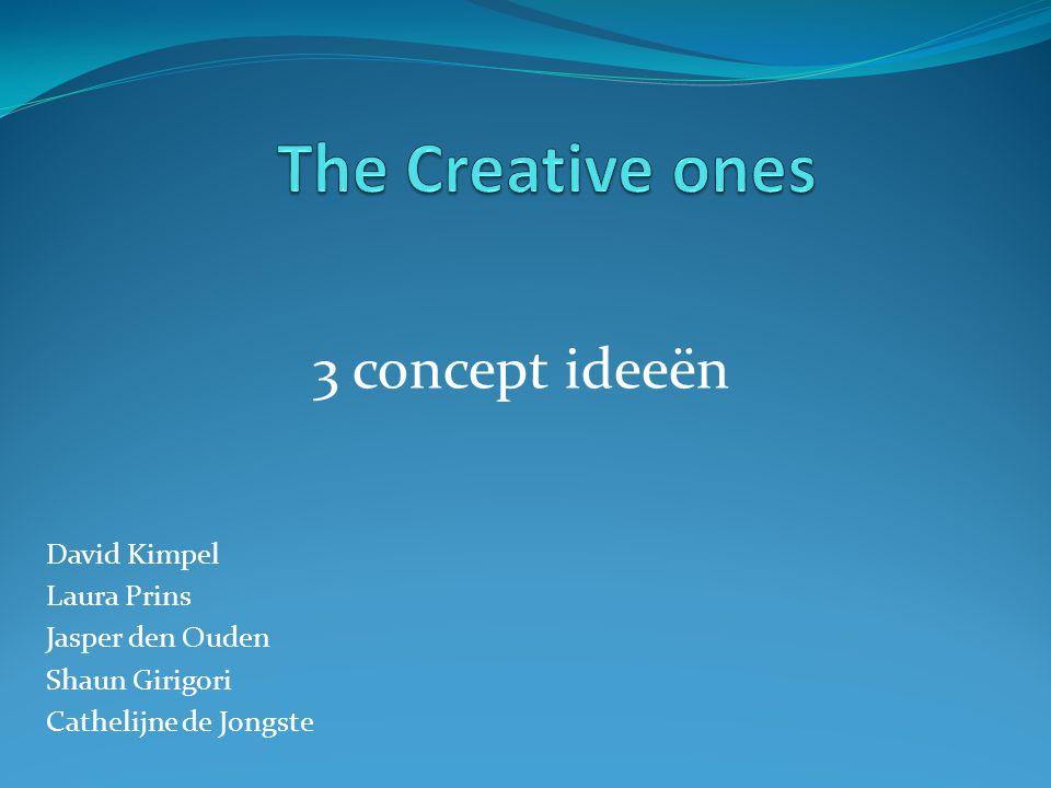 3 concept ideeën David Kimpel Laura Prins Jasper den Ouden Shaun Girigori Cathelijne de Jongste