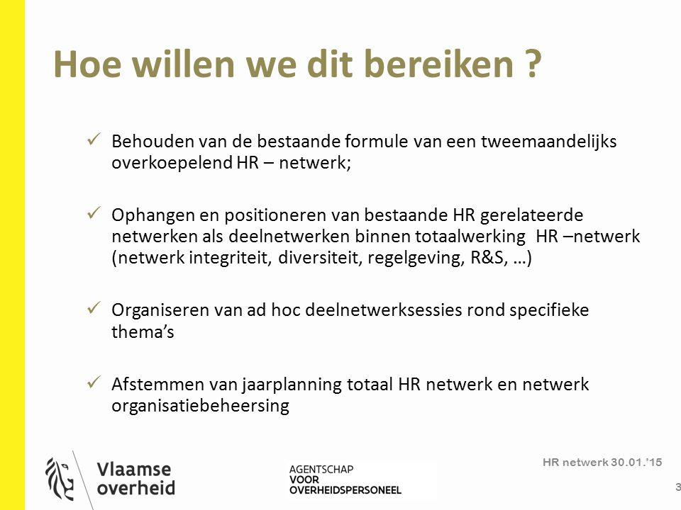 Overkoepelend HR-netwerk HR netwerk 30.01.'15 4 Een 'holding- netwerk' waar beleidsthema's, - uitdagingen en – projecten worden vastgepakt; Zowel beleidsinput (bottom-up) als effecten van beleidsuitrol (top down) Kennisdeling, inspiratie, netwerkmoment Doelgroep: HR- professionals, als strategische business partner voor het management.
