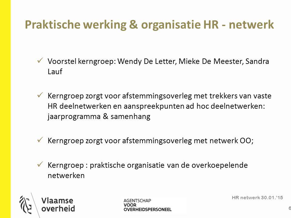 HR deelnetwerken en communicatie HR netwerk 30.01.'15 7 Praktische organisatie deelnetwerken ( vast en ad hoc): resp.