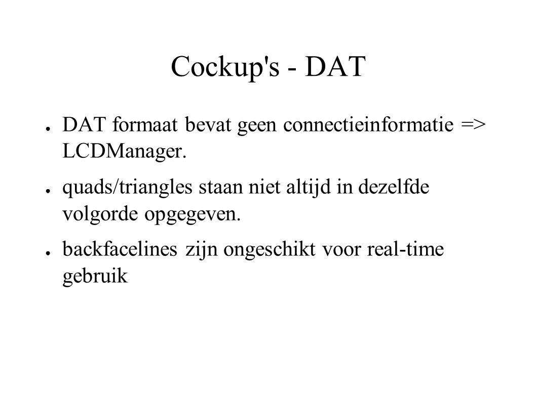 Cockup's - DAT ● DAT formaat bevat geen connectieinformatie => LCDManager. ● quads/triangles staan niet altijd in dezelfde volgorde opgegeven. ● backf