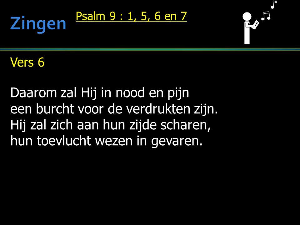 Vers 6 Daarom zal Hij in nood en pijn een burcht voor de verdrukten zijn. Hij zal zich aan hun zijde scharen, hun toevlucht wezen in gevaren. Psalm 9