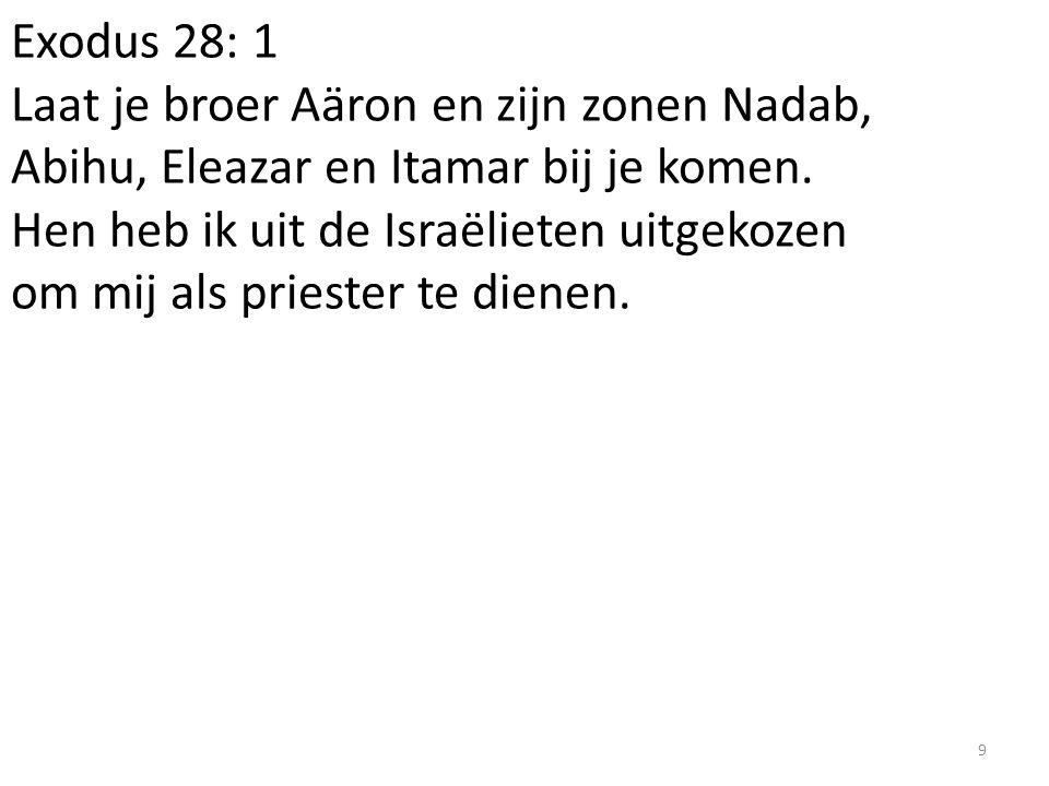 Exodus 28: 1 Laat je broer Aäron en zijn zonen Nadab, Abihu, Eleazar en Itamar bij je komen. Hen heb ik uit de Israëlieten uitgekozen om mij als pries