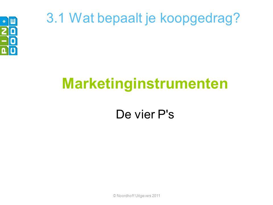 3.1 Wat bepaalt je koopgedrag? Marketinginstrumenten De vier P's © Noordhoff Uitgevers 2011