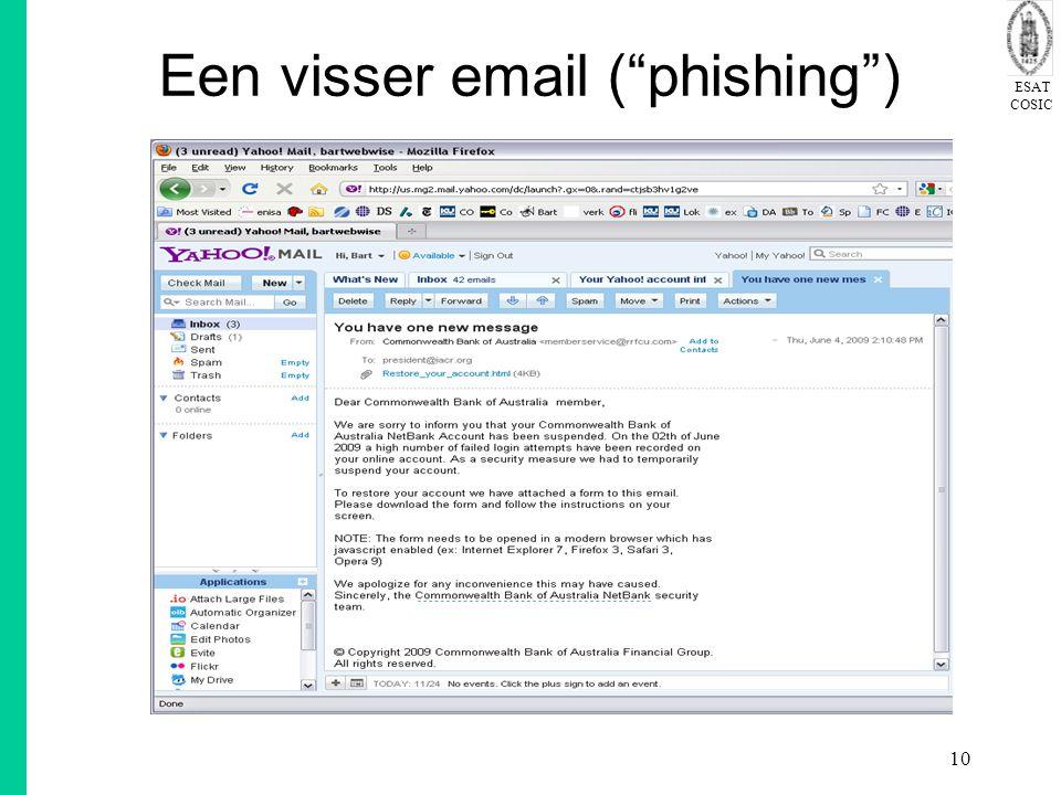 "ESAT COSIC 10 Een visser email (""phishing"")"