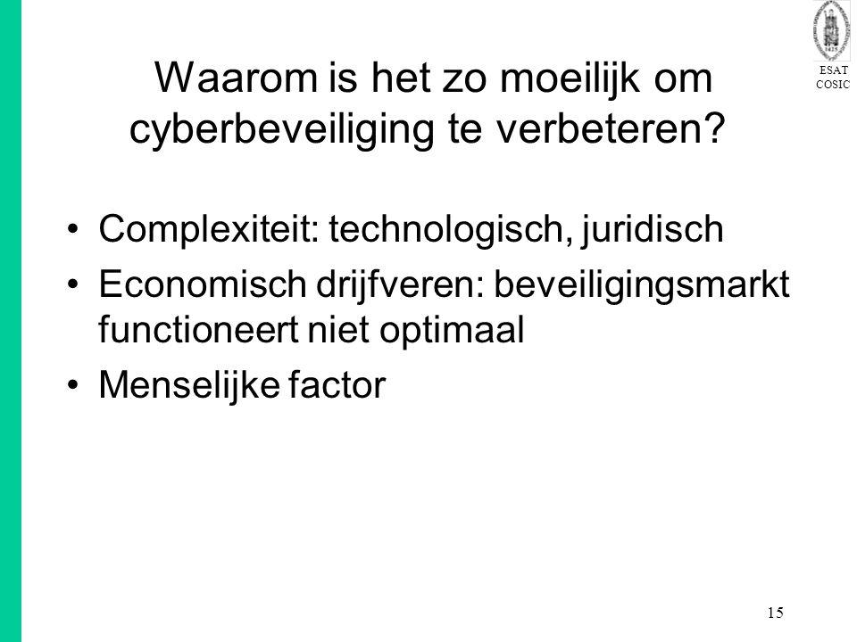 ESAT COSIC 15 Waarom is het zo moeilijk om cyberbeveiliging te verbeteren? Complexiteit: technologisch, juridisch Economisch drijfveren: beveiligingsm
