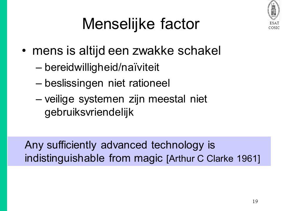 ESAT COSIC 19 Menselijke factor mens is altijd een zwakke schakel –bereidwilligheid/naïviteit –beslissingen niet rationeel –veilige systemen zijn meestal niet gebruiksvriendelijk Any sufficiently advanced technology is indistinguishable from magic [Arthur C Clarke 1961]