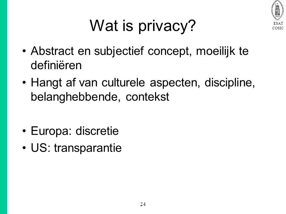 ESAT COSIC 24 Wat is privacy? Abstract en subjectief concept, moeilijk te definiëren Hangt af van culturele aspecten, discipline, belanghebbende, cont