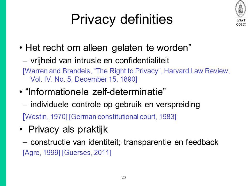 ESAT COSIC 25 Privacy definities Het recht om alleen gelaten te worden –vrijheid van intrusie en confidentialiteit [Warren and Brandeis, The Right to Privacy , Harvard Law Review, Vol.
