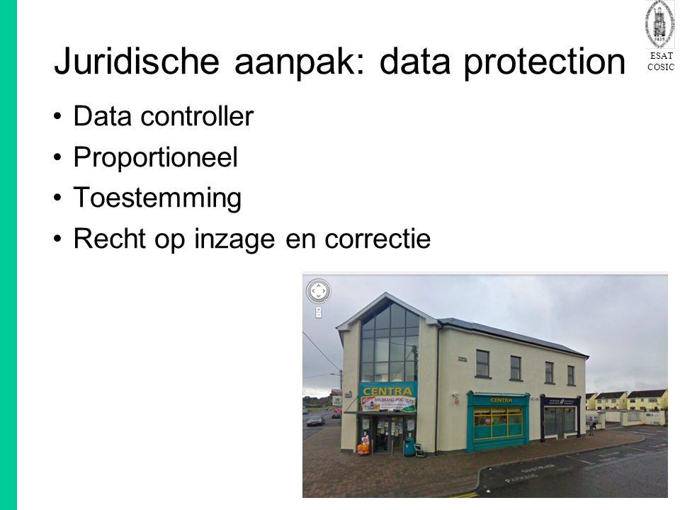 ESAT COSIC 26 Juridische aanpak: data protection Data controller Proportioneel Toestemming Recht op inzage en correctie