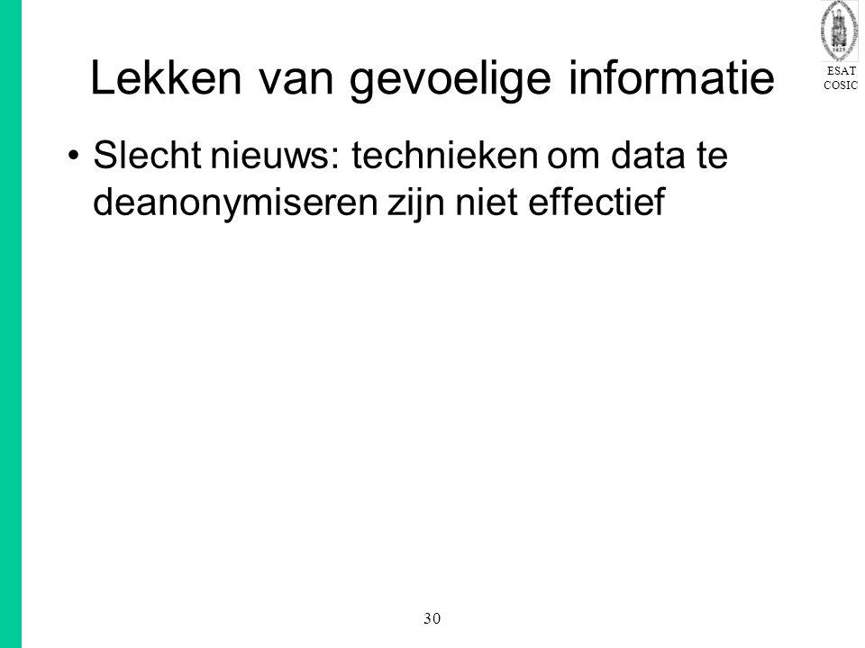 ESAT COSIC 30 Lekken van gevoelige informatie Slecht nieuws: technieken om data te deanonymiseren zijn niet effectief