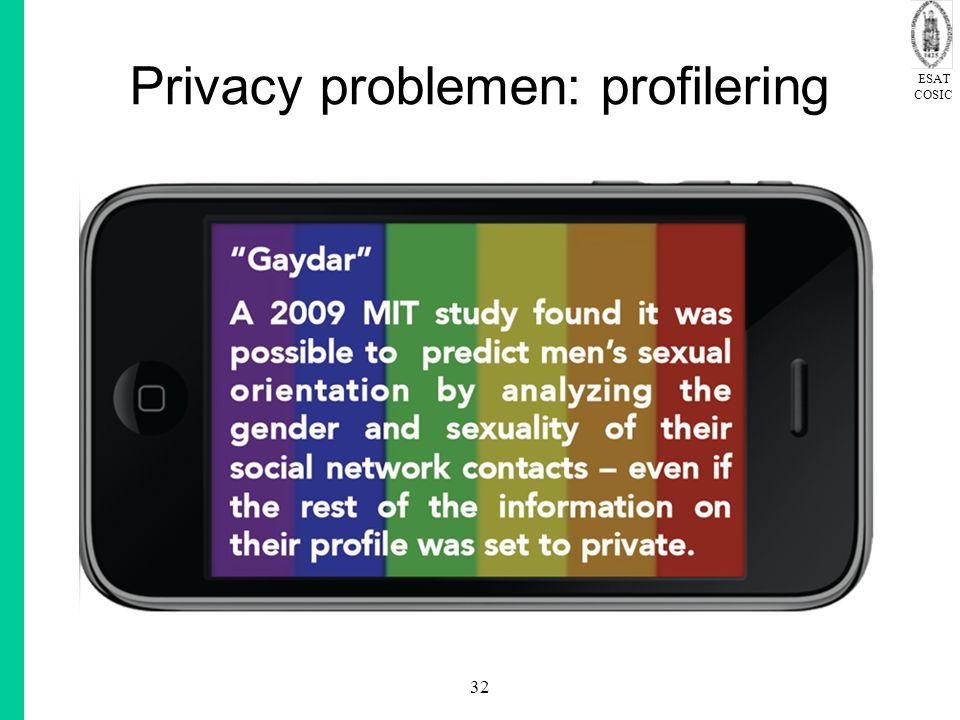 ESAT COSIC 32 Privacy problemen: profilering